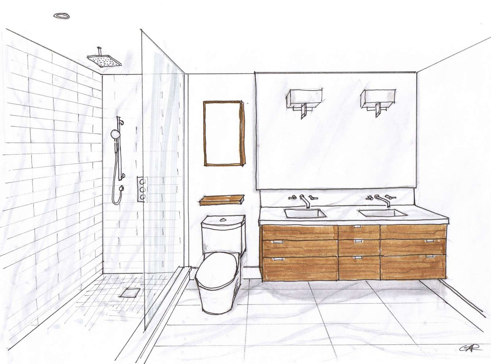 Separating wet and dry areas in bathroom - Orton Baths